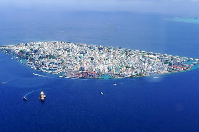 Vista aérea de Malé, capital da República das Maldivas
