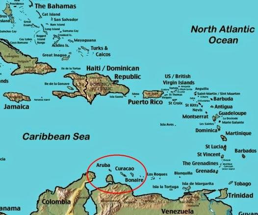 mapa ilhas abc aruba curaçao bonaire