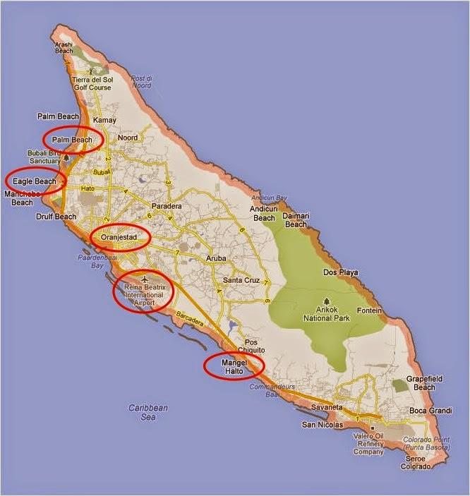 A ilha de Aruba com alguns pontos de interesse que vou comentar aqui em destaque