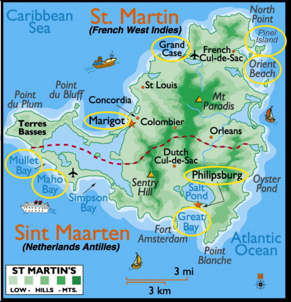 dicas de st maarten - mapa
