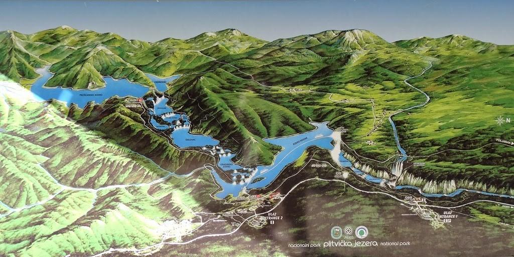 Mapa do Parque Nacional dos Lagos de Plitvice