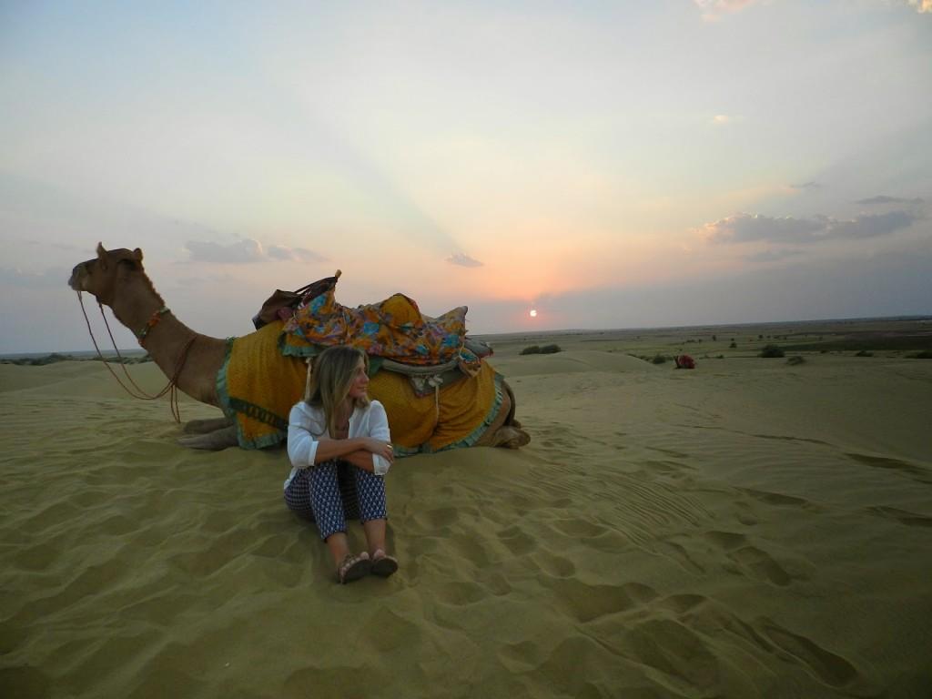 Por do sol em Sam Sand Dunes, Thar Desert