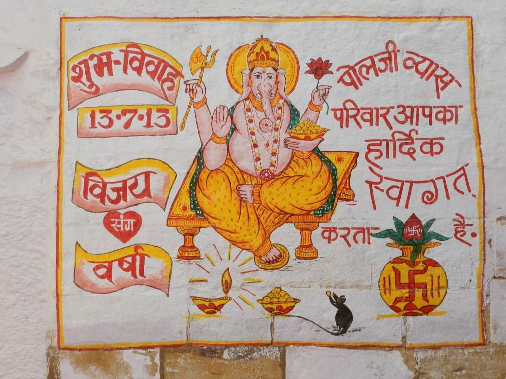 Convites de casamento pintados nas paredes do Jaisalmer Fort