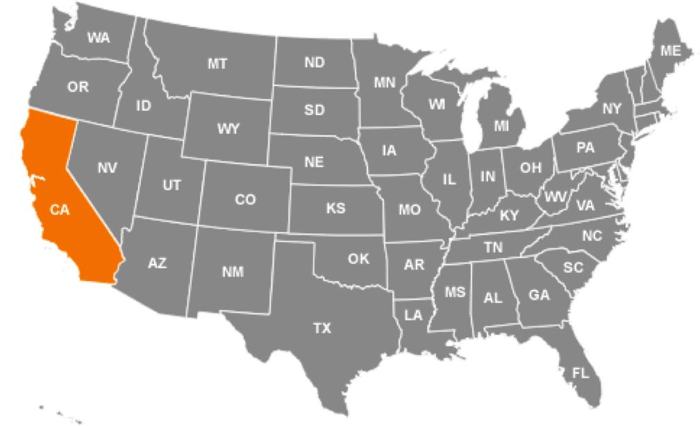 estado da california mapa estados unidos