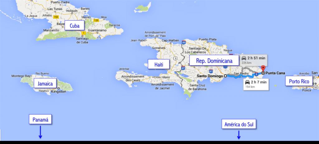 República Dominicana e países vizinhos no mapa | Google Maps