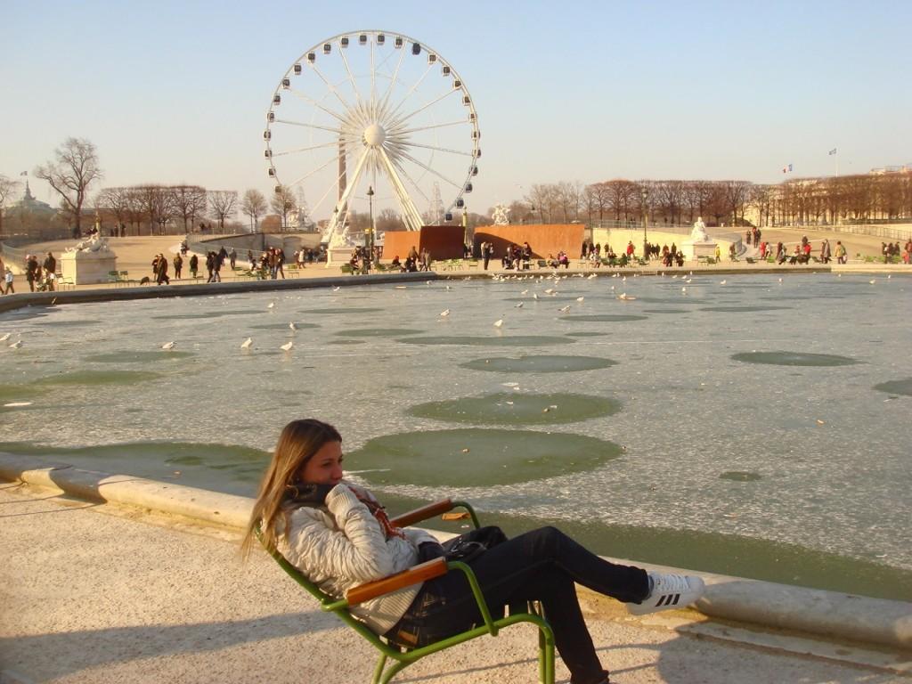 Laguinho congelado no Jardin des Tuileries (2009)