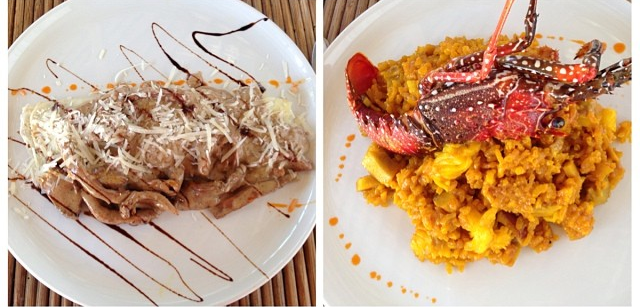 Nossos pratos no Jellyfish: filé mignon com molho de cogumelos e risoto de lagosta