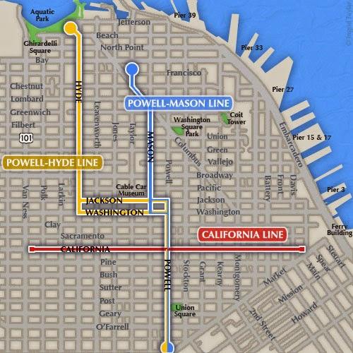 Linhas dos cable cars (bondinhos). A Powell-Hyde é a amarela.