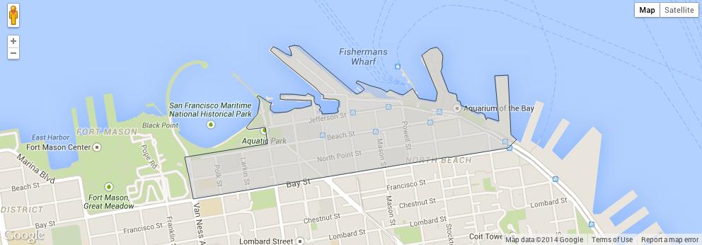A região de Fisherman's Wharf destacada no mapa de SF