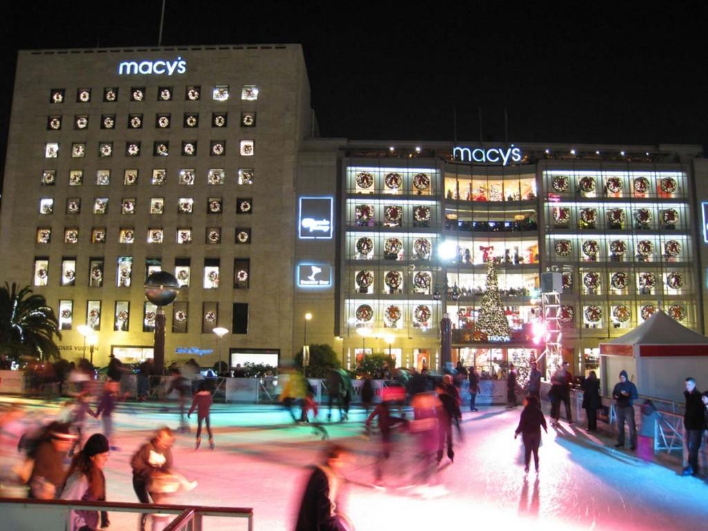 Union Square no Natal com pista de patinação no gelo| foto: sfcitizen.com