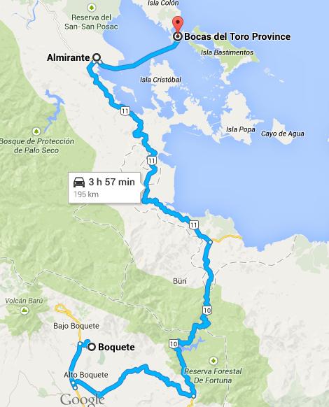 O trajeto de Boquete a Bocas del Toro | Google Maps