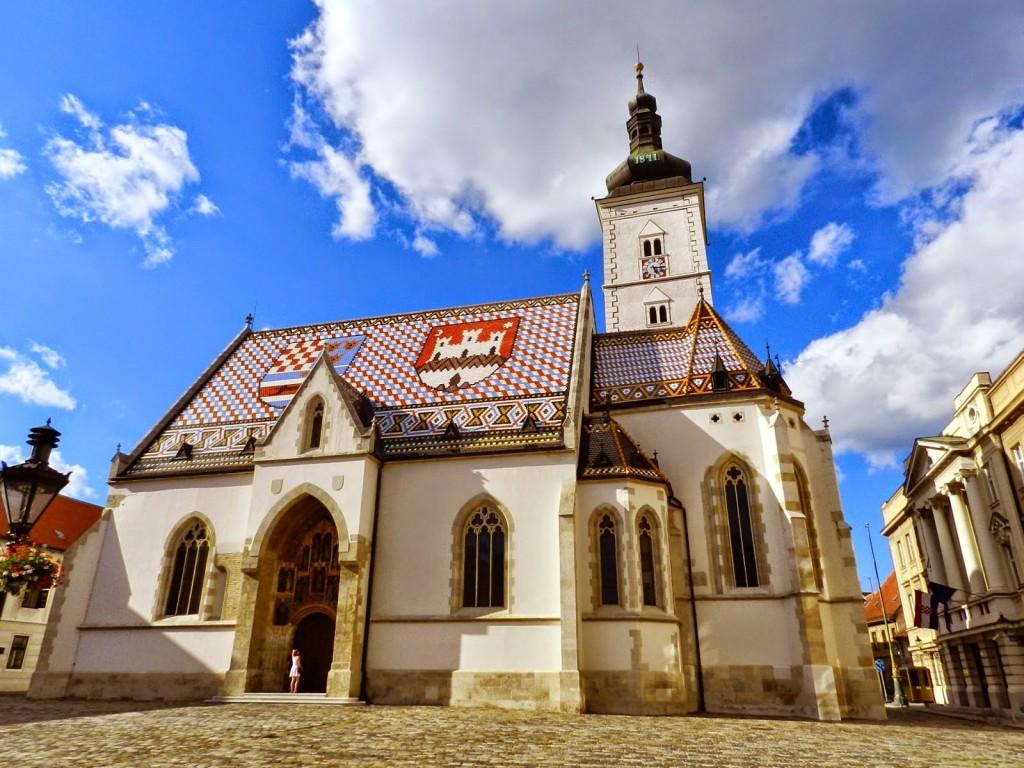 Igreja de São Marcos na Cidade Alta, parte antiga de Zagreb, Croácia