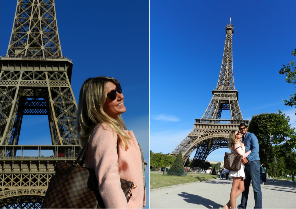 A famosa Tour Eiffel, vista do Champ de Mars