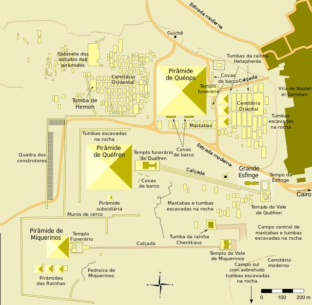"Mapa do complexo ""Necrópole de Gizé"" (chamado de Plateau ou Planalto de Gizé)"