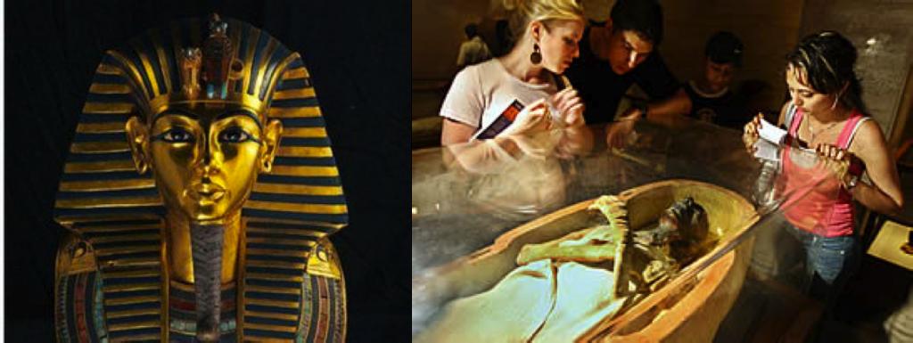 Máscara mortuária de Tutankamon (foto: viajeaqui.abril.com.br) e múmias do museu (foto: noticias.terra.com.br)