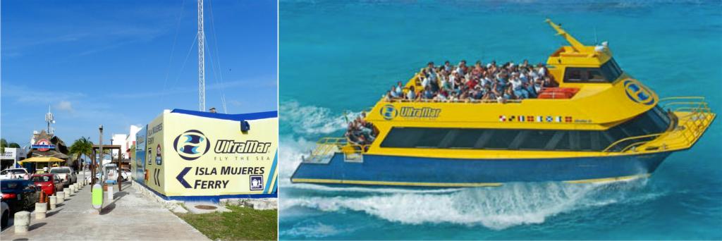 Local de embarque no ferry para Isla Mujeres, na Playa Tortugas, Zona Hotelera de Cancún. Se for andando pela praia, o ferry sai de um píer onde há um bungee jump.