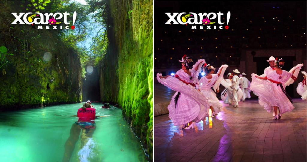 Rios subterrâneos e apresentações de danças típicas | fotos: xcaret.com.mx