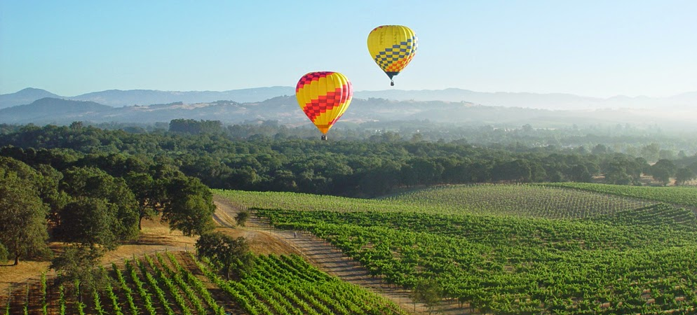 Sobrevoando Napa Valley de Hot Air Balloon | foto: weinspireme.com