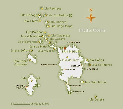 Mapa do Arquipélago de Las Perlas | fonte: contadorapanama.com
