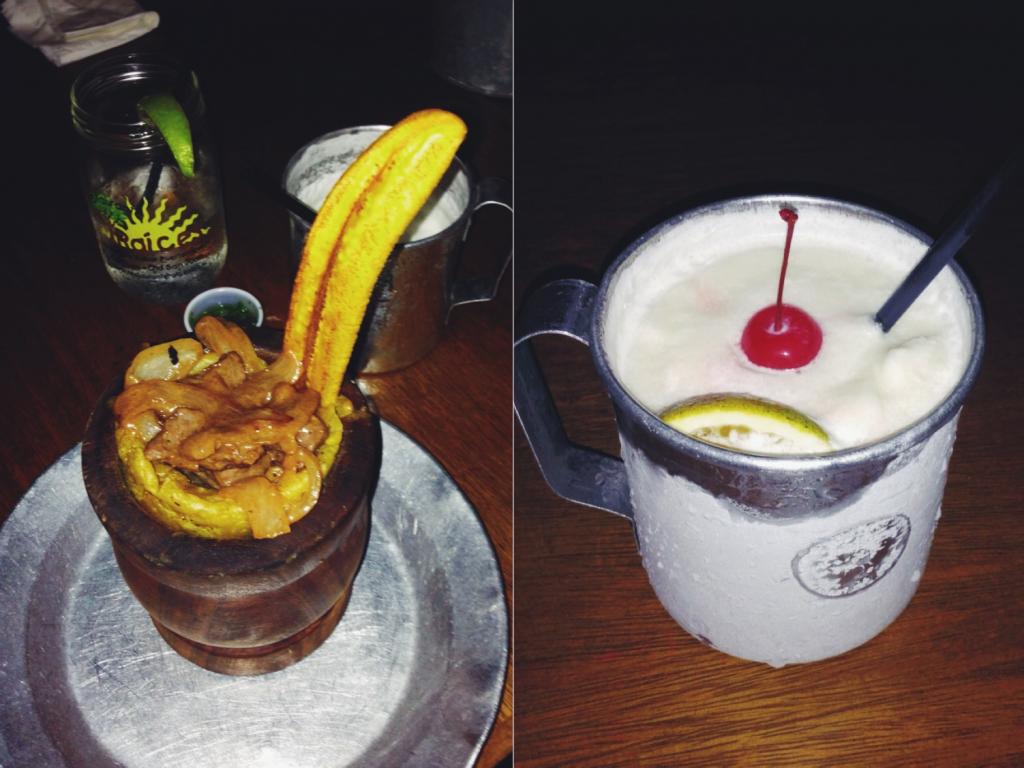 Prato e bebida típica do Caribe: Mofongo e Piña Colada | fotos: Jessica Ausier