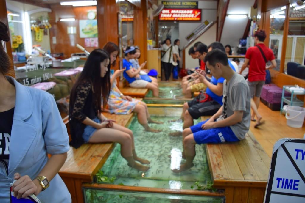 30 Khao San Road Bangkok - rua que nunca dorme - dicas de viagem Tailandia - fish massage - pedicure com peixe
