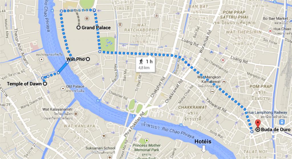 MAPA roteiro dia 1 bangkok templos e grand palace - dicas de viagem tailandia