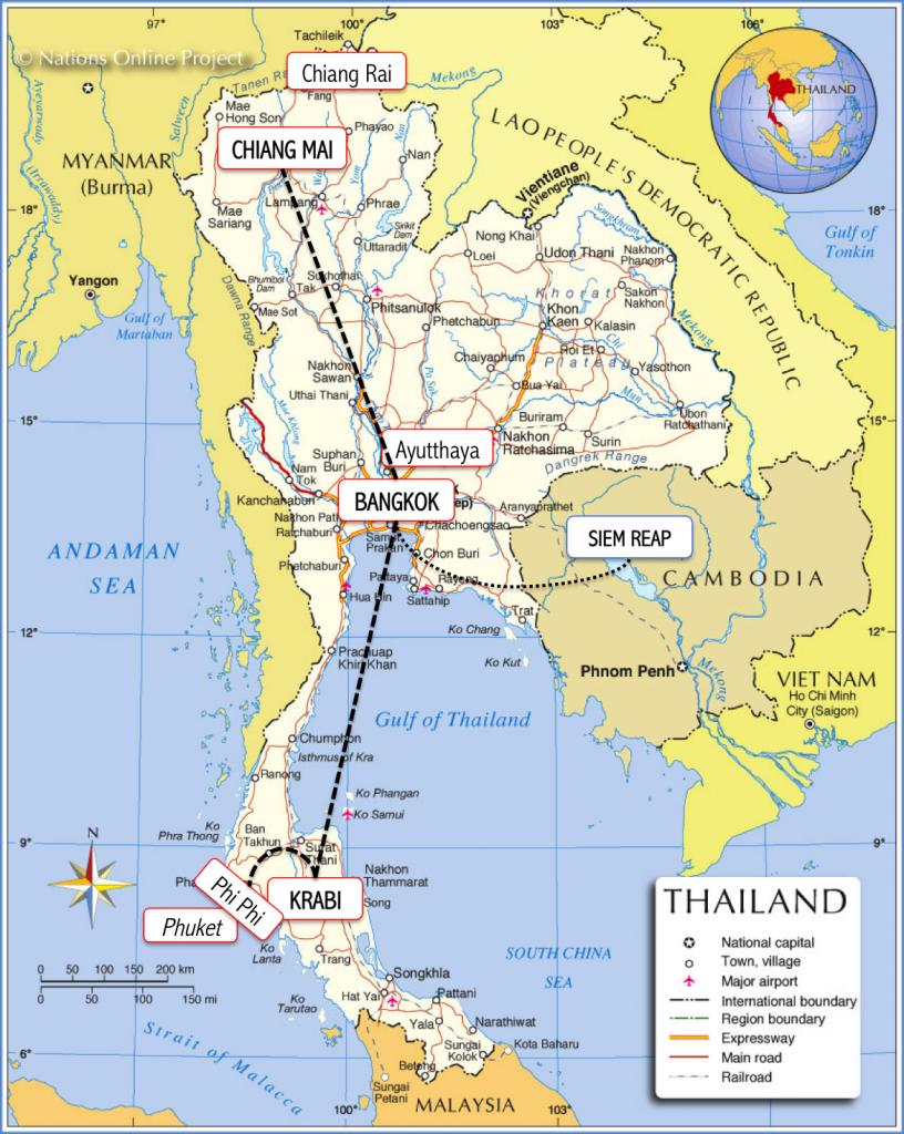 Mapa tailandia viagem roteiro