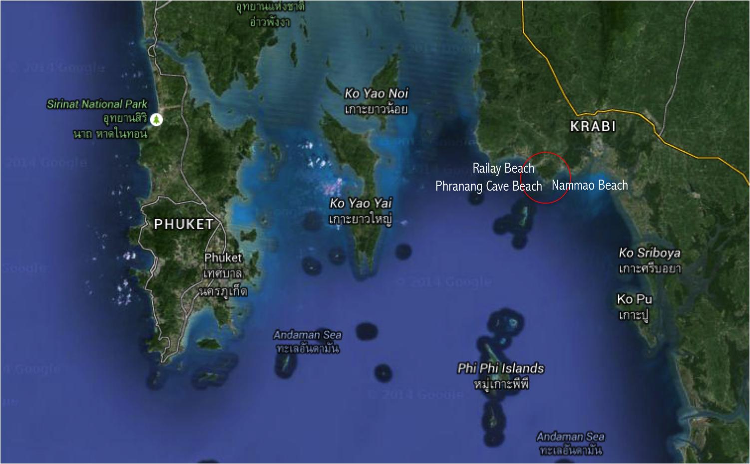 onde fica railay beach krabi tailandia