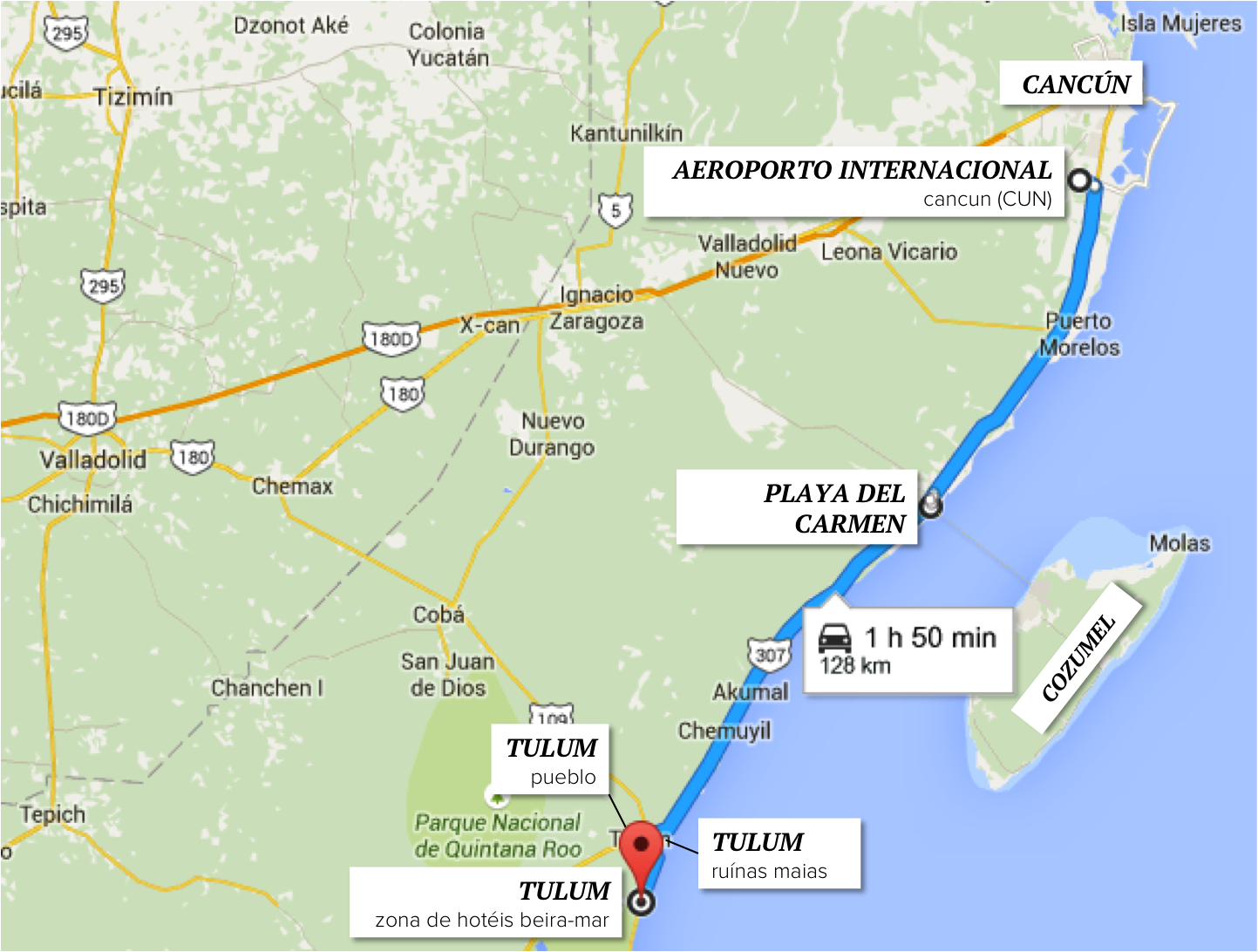 00 mapa cancun tulum estrada