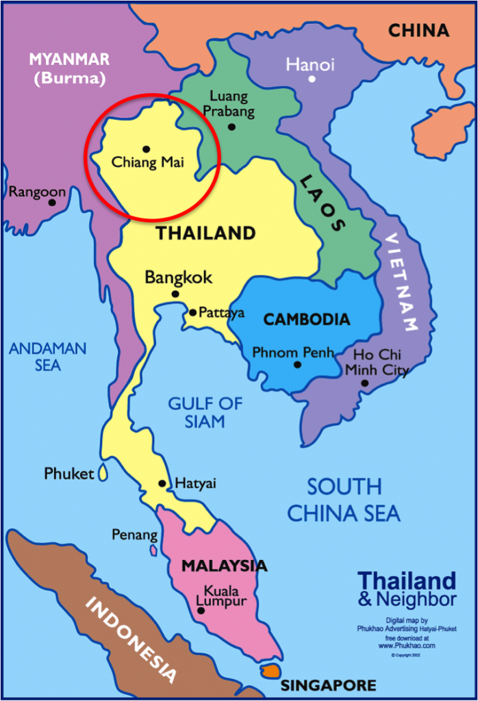 localização de chiang mai no mapa da tailandia - onde fica