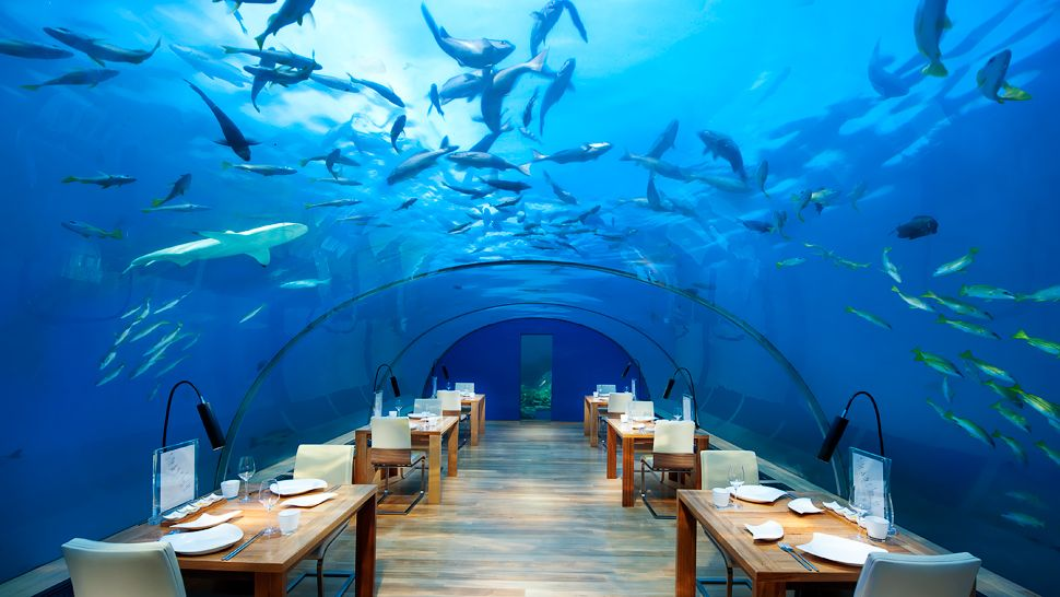 Restaurante (que pode virar quarto) no Conrad Maldives Rangali Island | foto: kiwicollection.com