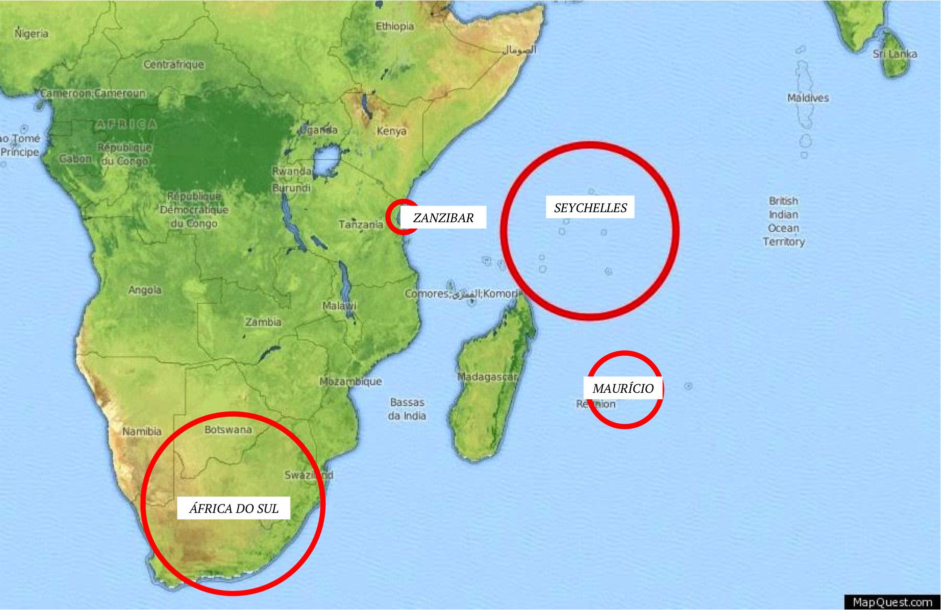 onde fica zanzibar seychelles ilhas mauricio africa