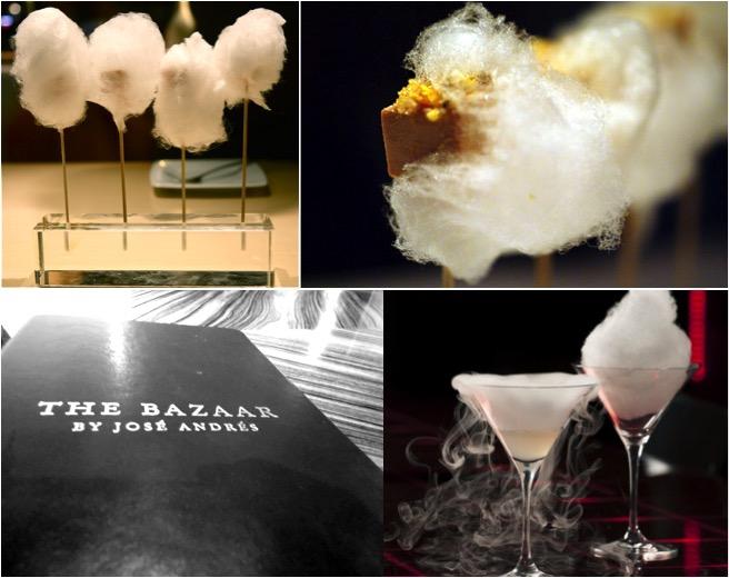 No menu do The Bazaar: pirulito de fois gras com algodão doce e drinks diferentões