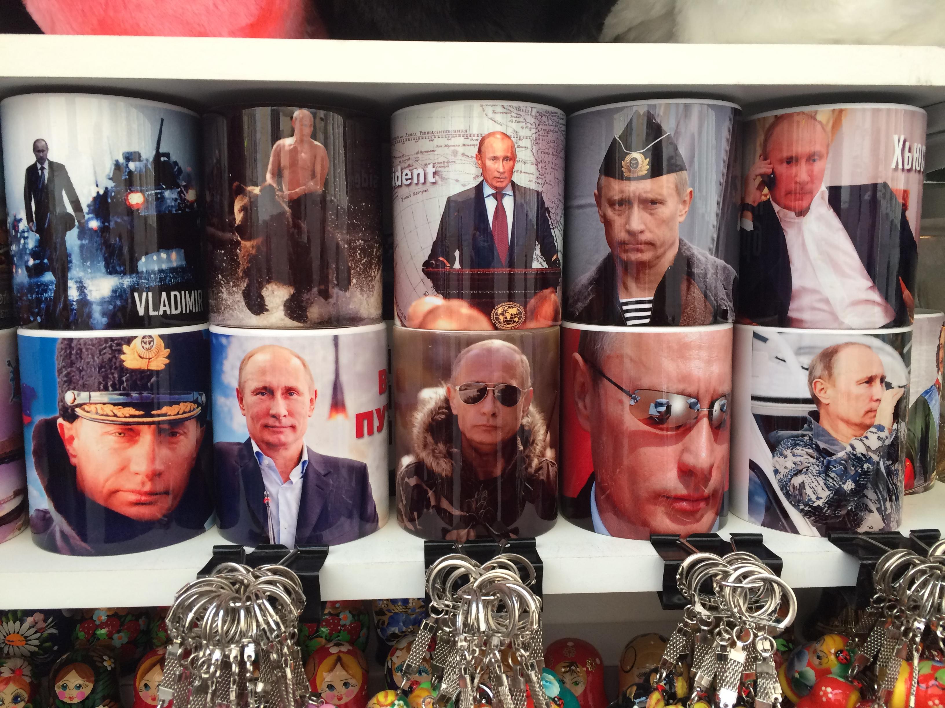 Souvenirs do Putin - muito popular na Rússia