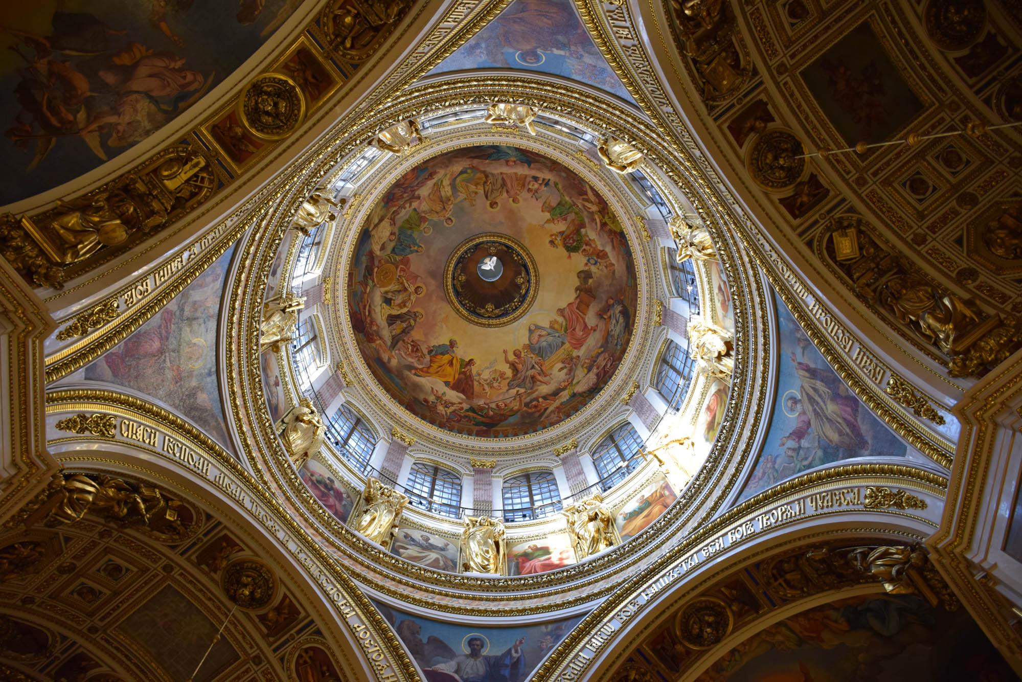 A cúpula (gigaaante!!) da Catedral de São Isaac vista por dentro
