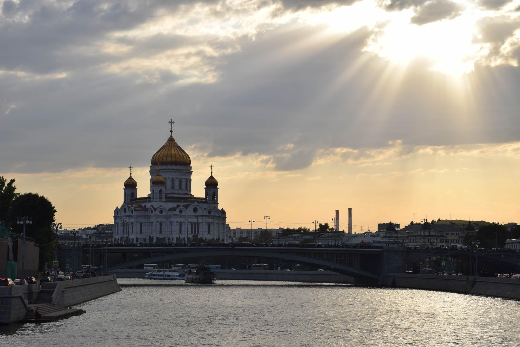 Catedral de Cristo Salvador, vista do Rio Moskva - Moscou