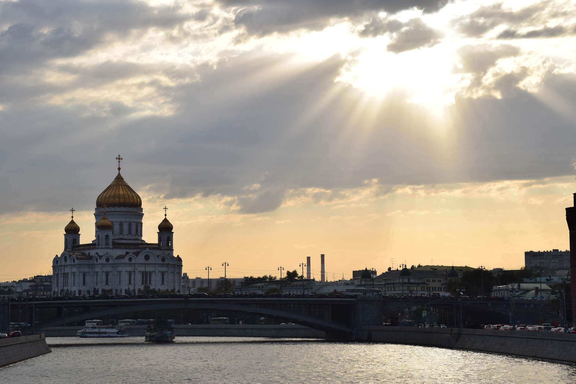 Catedral de Cristo Salvador - Moscou (visto do passeio de barco pelo Rio Moskva)