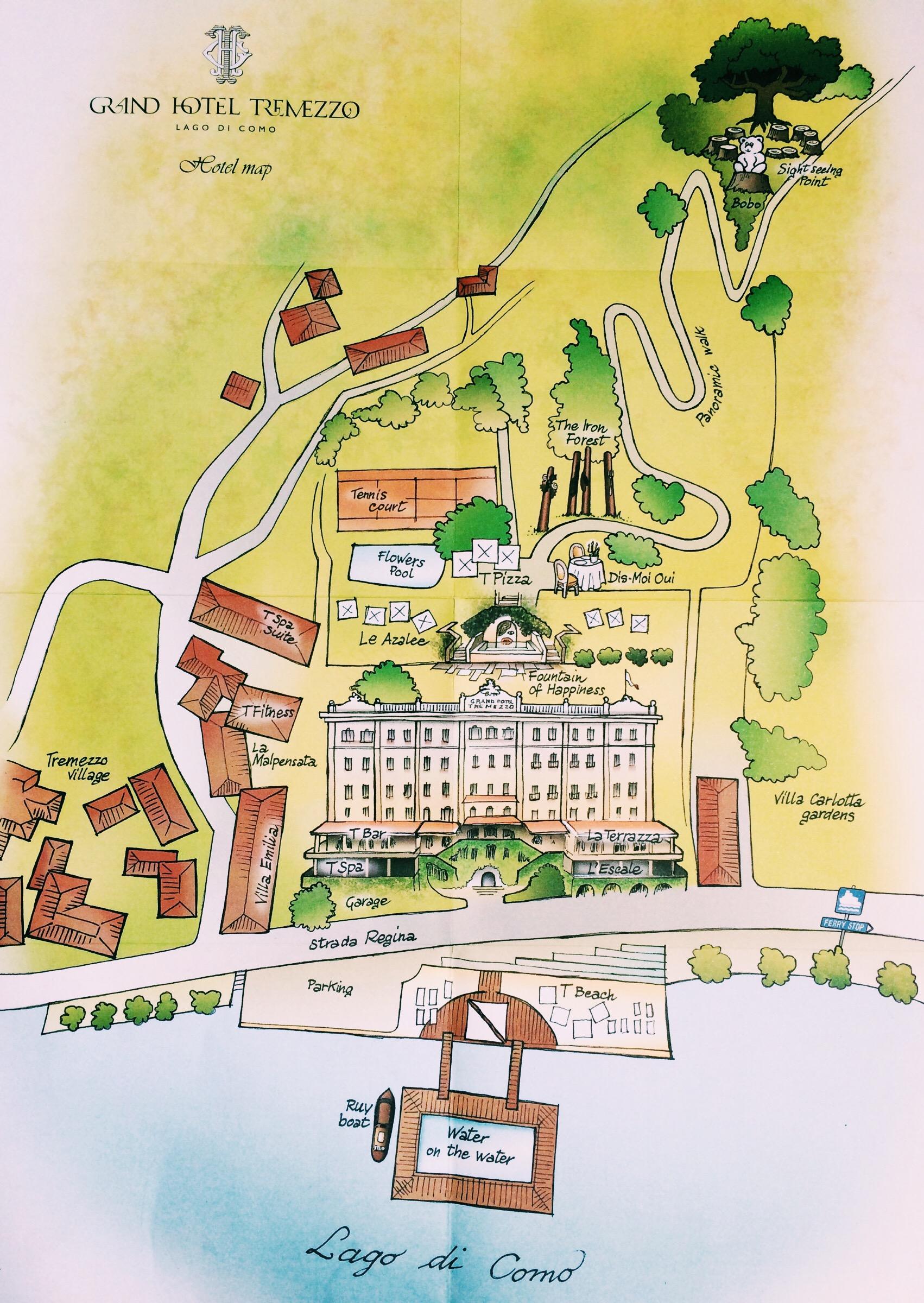Mapa da propriedade - Grand Hotel Tremezzo - Lago di Como - Itália