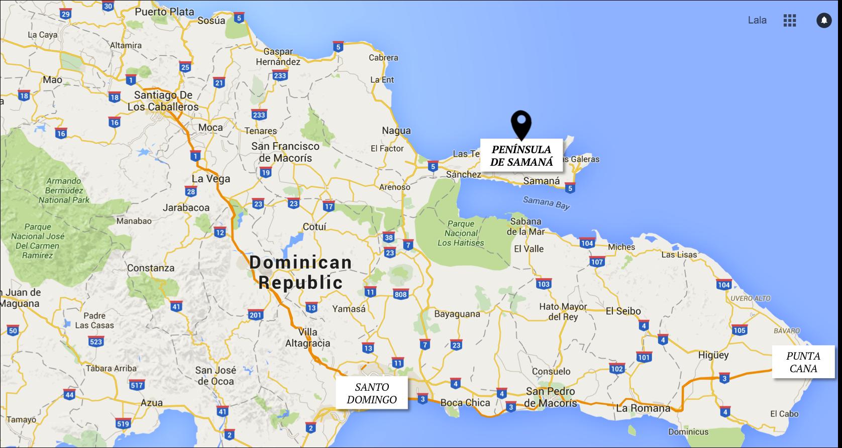 MAPA REPUBLICA DOMINICANA - ONDE FICA SAMANA