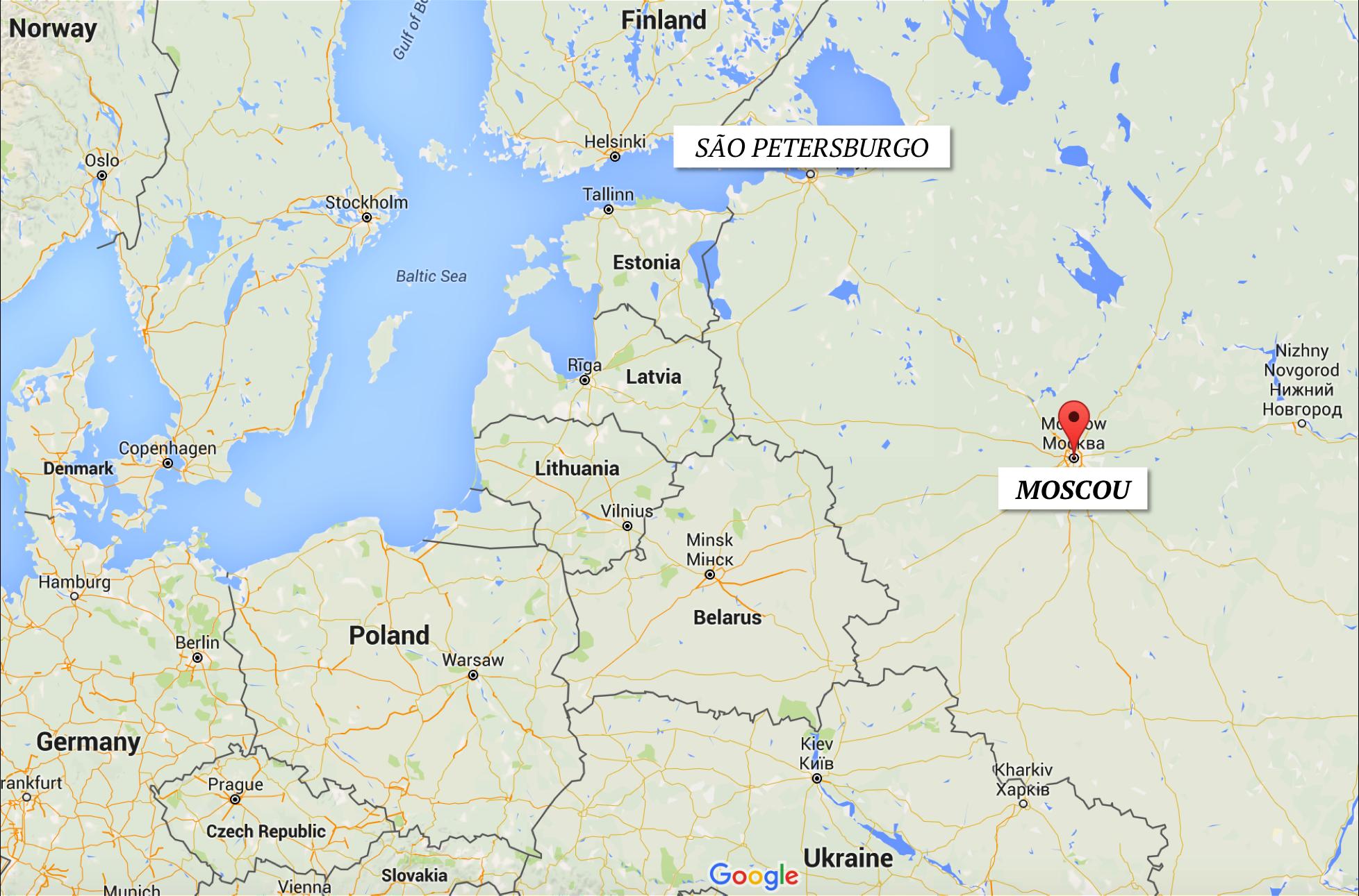 Localização de Moscou no mapa