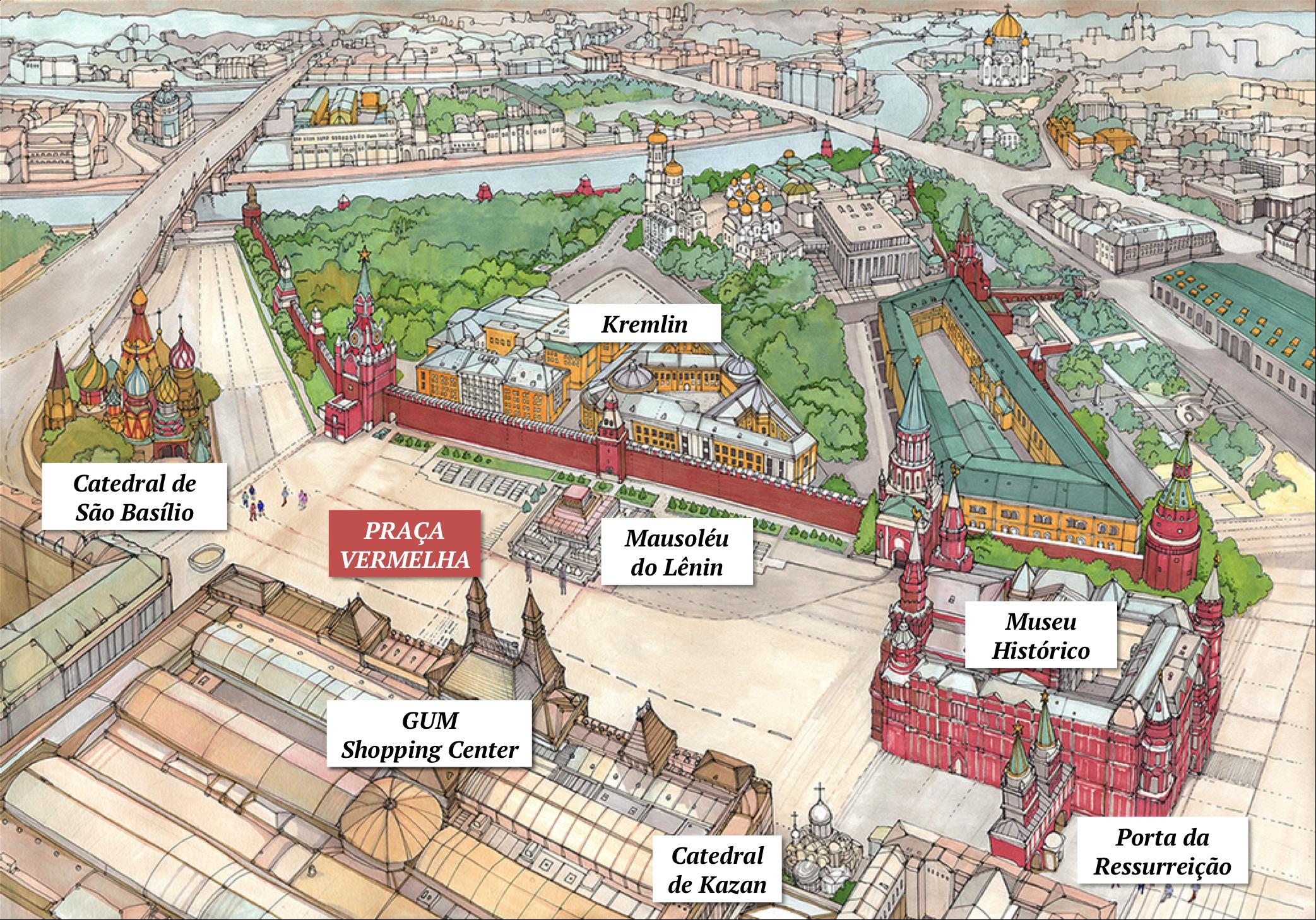 mapa praça vermelha red square map moscou moscow igrejas kremlin catedrais museu torres GUM
