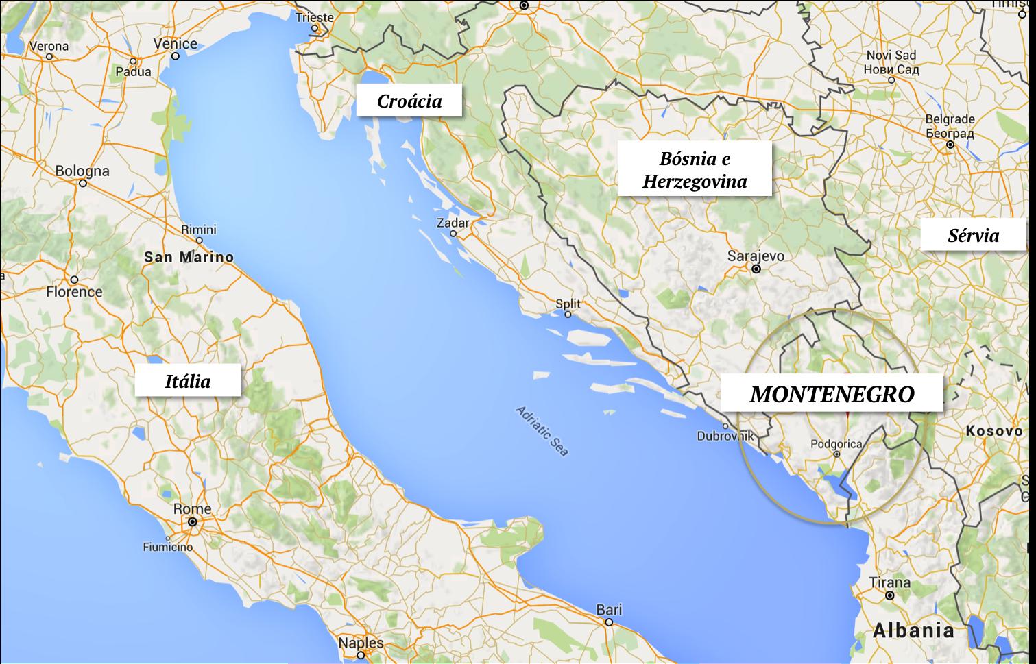 montenegro turismo onde fica localizacao croacia