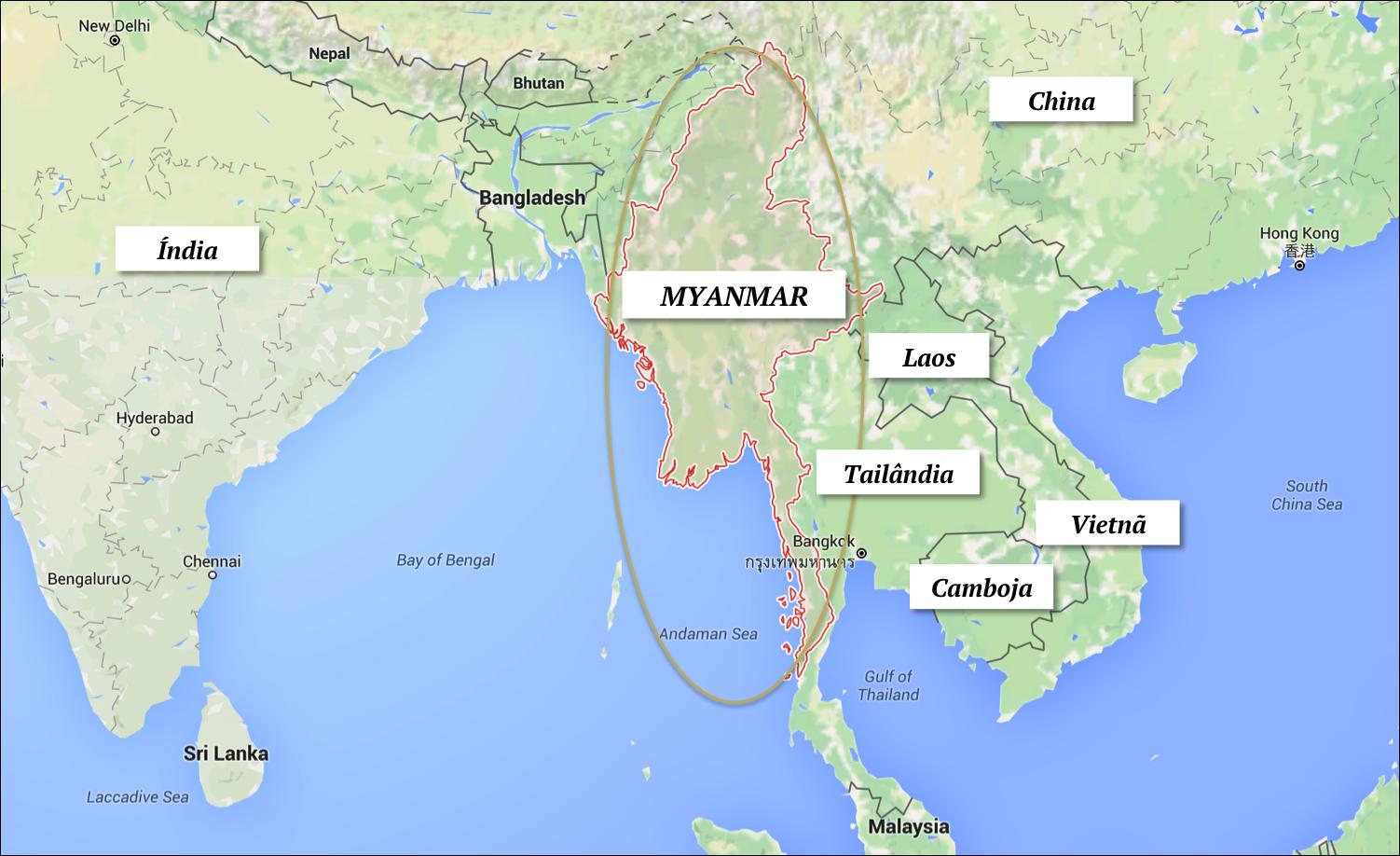 onde fica o myanmar