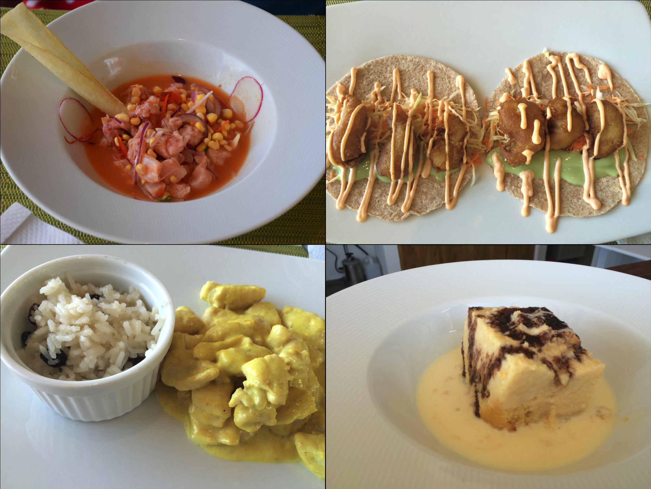 Nossos pratos no Los Vientos Beach Club: ceviche, tacos, frango ao curry e sobremesa Tres Leches