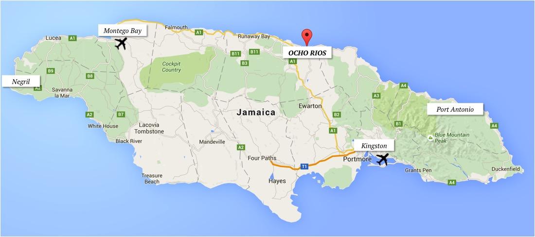 dicas ocho rios jamaica mapa onde fica