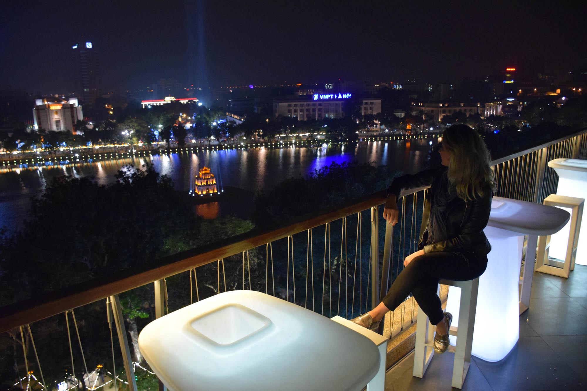 Vista do rooftop do nosso hotel, Apricot, no Old Quarter de Hanoi