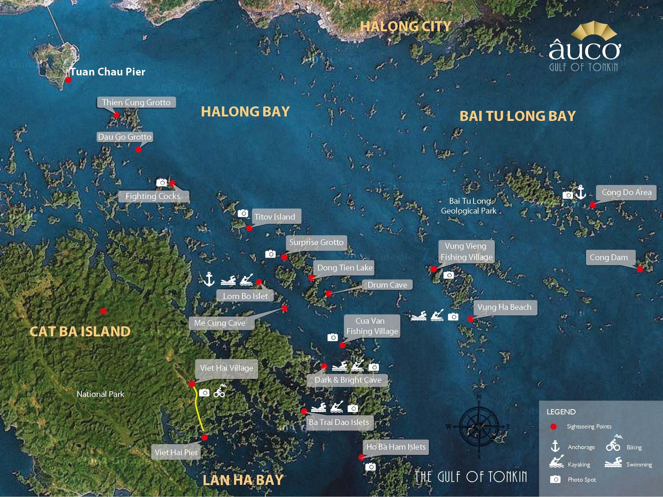 Mapa das ilhas, cavernas, praias, vilarejos e outras atrações em Halong Bay | fonte: Au Co Cruises