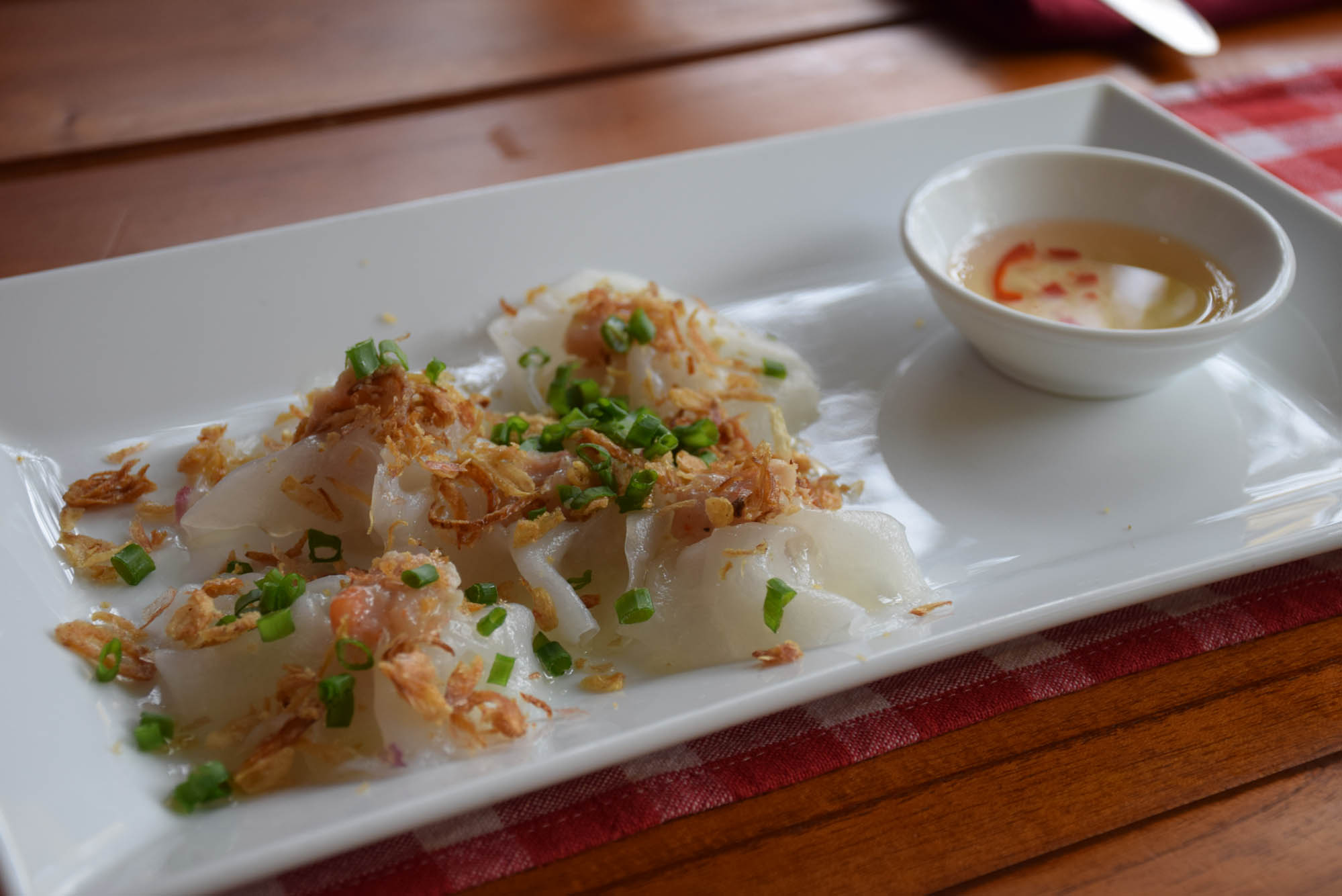Dumplings vietnamitas no Restaurante Chez Marcel, em Hoi An