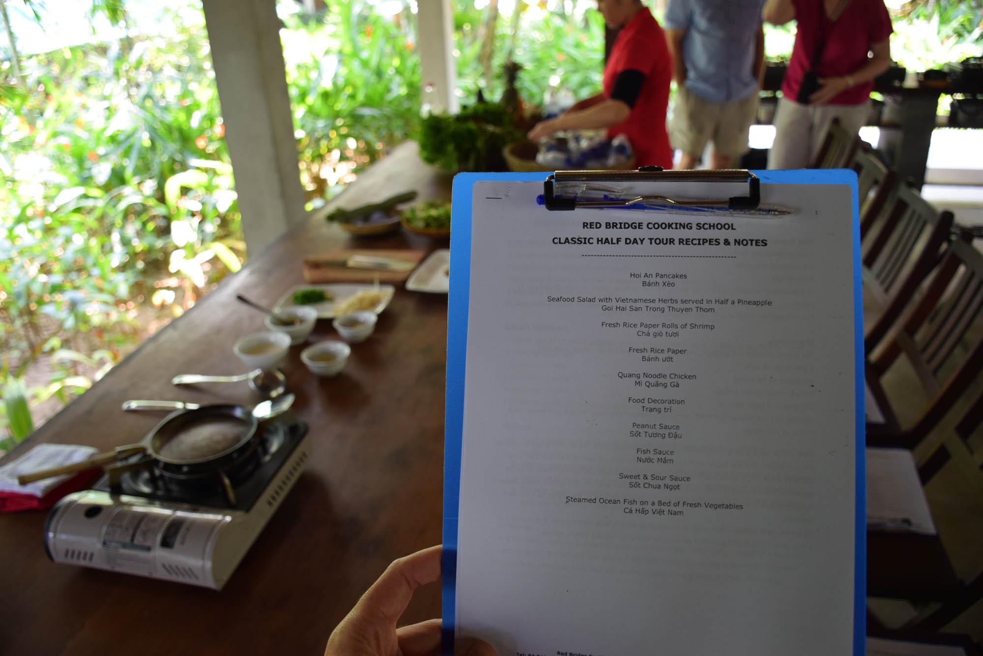 O que iríamos aprender a cozinhar naquele dia | Red Bridge Cooking School - Hoi An