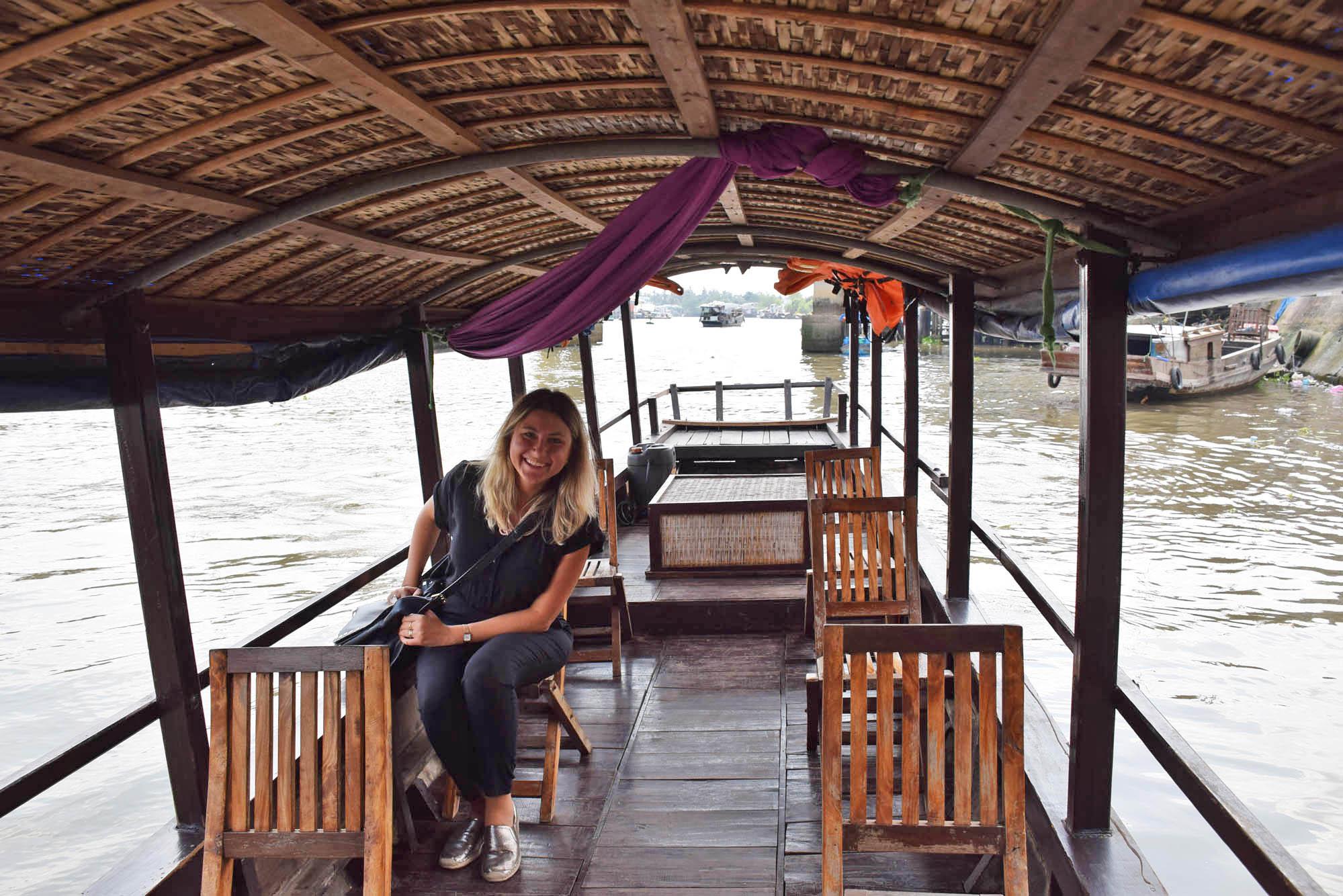 No barco para começar o passeio pelo Delta do Rio Mekong
